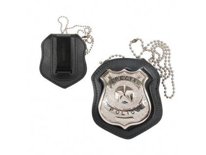 Pouzdro na odznak NYPD s klipem KŮŽE