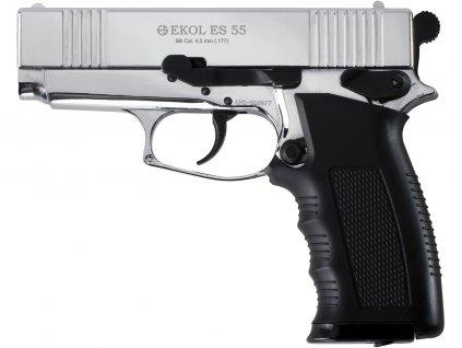 Vzduchová pistole Ekol ES 55 chrom 4,5mm  + Voucher na další nákup