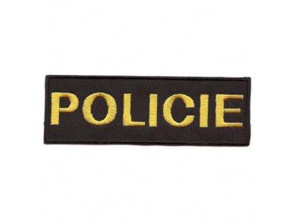 Nášivka POLICIE malá ČERNÁ se žlutou nití VELCRO