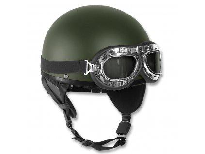 Helma motocyklová RETRO ZELENÁ