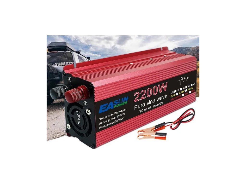Měnič napětí z 24V na 220V výkon 2200W 1
