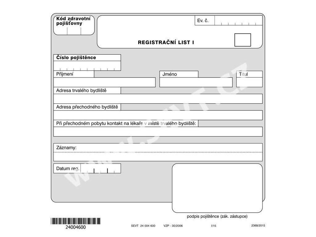 Registrační list dvoulistá složka