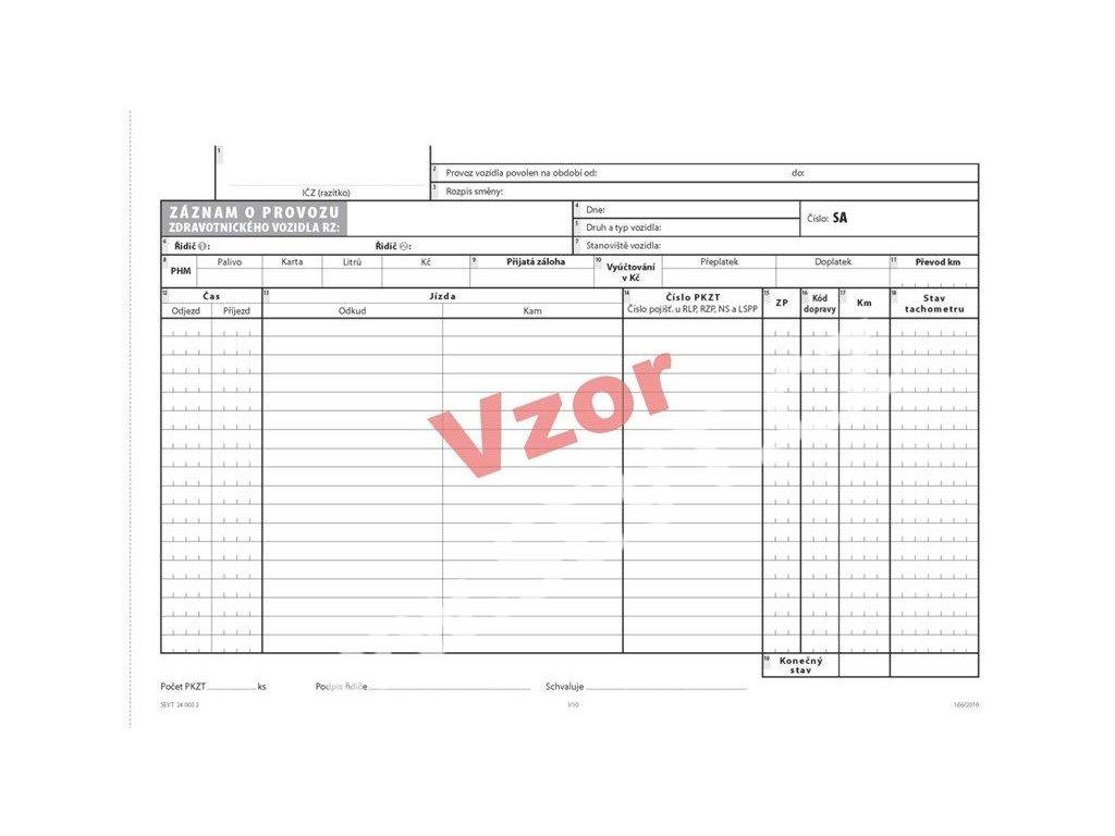 Záznam o provozu zdravotnického vozidla