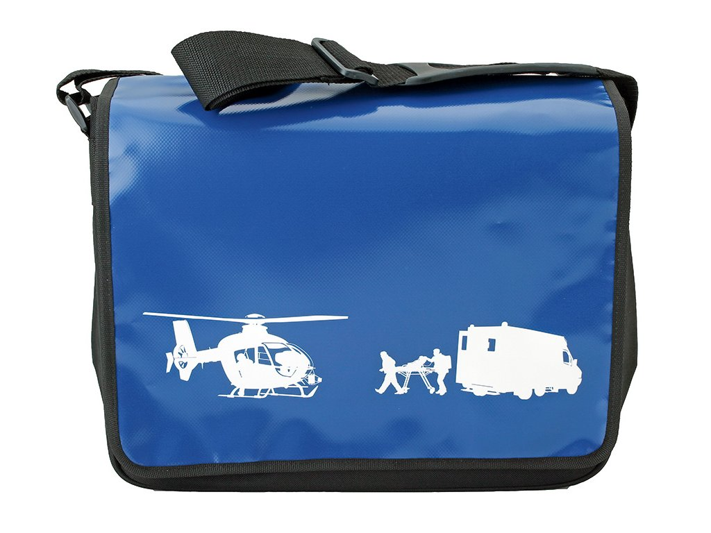 Taška přes rameno - vrtulník a sanitka - modrá