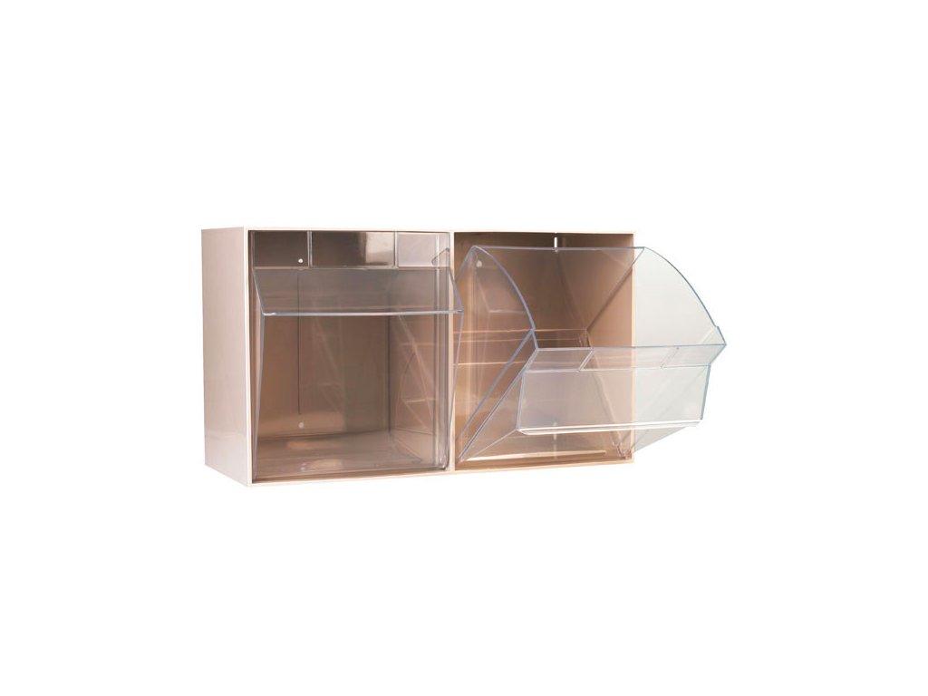 Úložné transparentí kontejnery - 2 oddíly