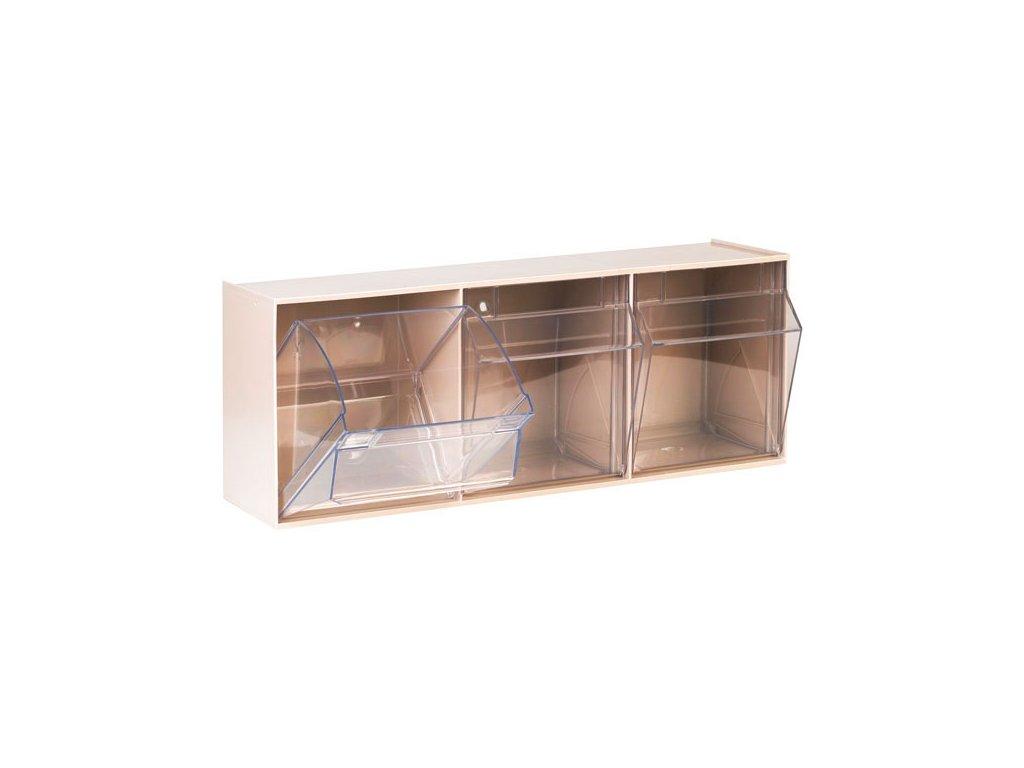 Úložné transparentí kontejnery - 3 oddíly