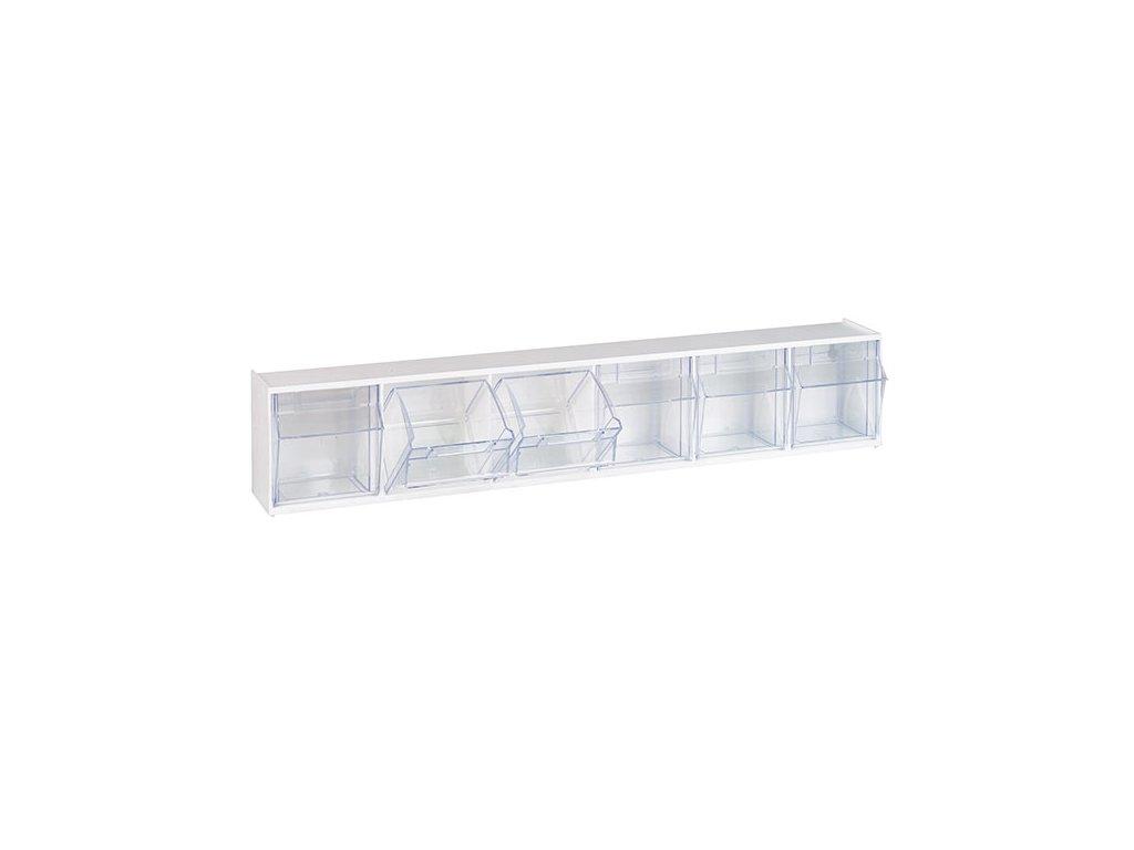 Úložné transparentí kontejnery - 6 oddílů