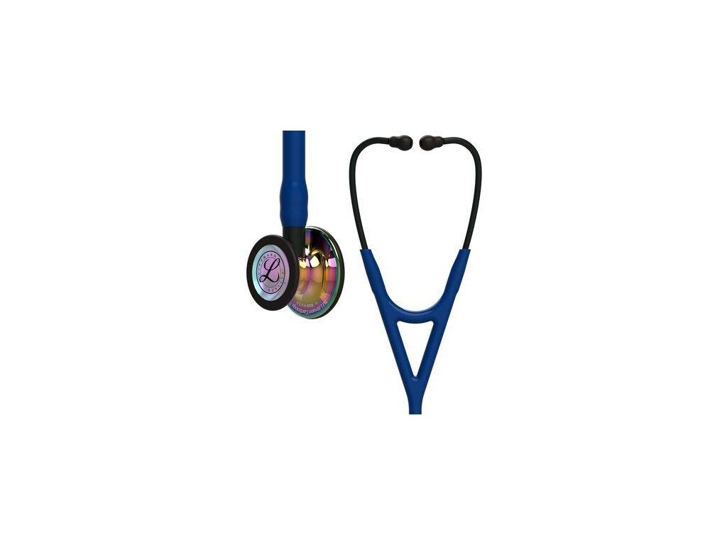 cardiology iv 6242 high polish rainbow finish navy tube black stem and black headset