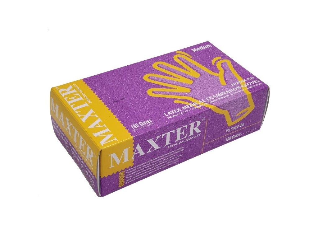 vysetrovaci rukavice maxter latex nepudrovane 100 ks 4674
