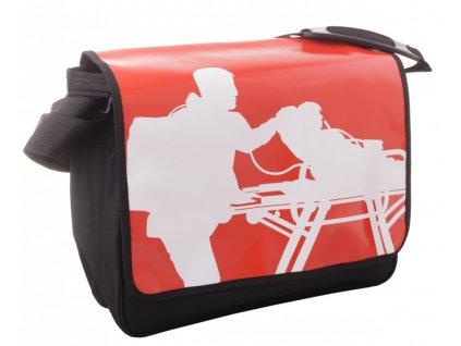 Taška přes rameno - záchranář s nosítky - červená