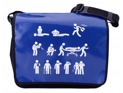 Taška přes rameno - piktogramy - modrá