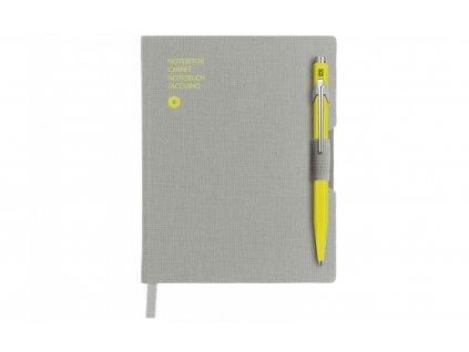 Zápisník Caran d´Ache Office - šedý s propiskou Popline - neonově žlutou