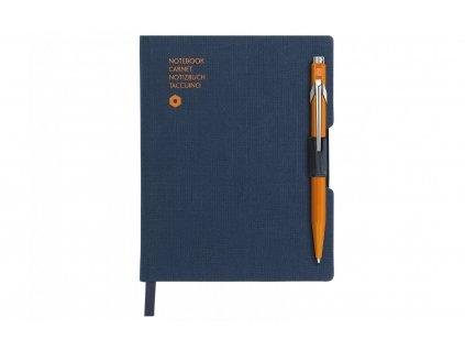 Zápisník Caran d´Ache Office - tmavě modrý s propiskou Popline - neonově oranžovou