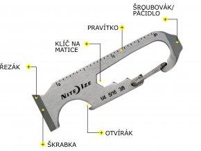 Multifunkční karabinka Nite Ize Doohickey Key Tool