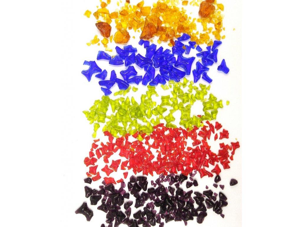 Skleněná drť  do pryskyřice 2-10 mm - více barev
