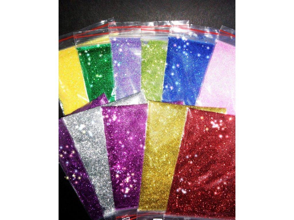 Třpytky glitrové do pryskyřice - mix 11 barev