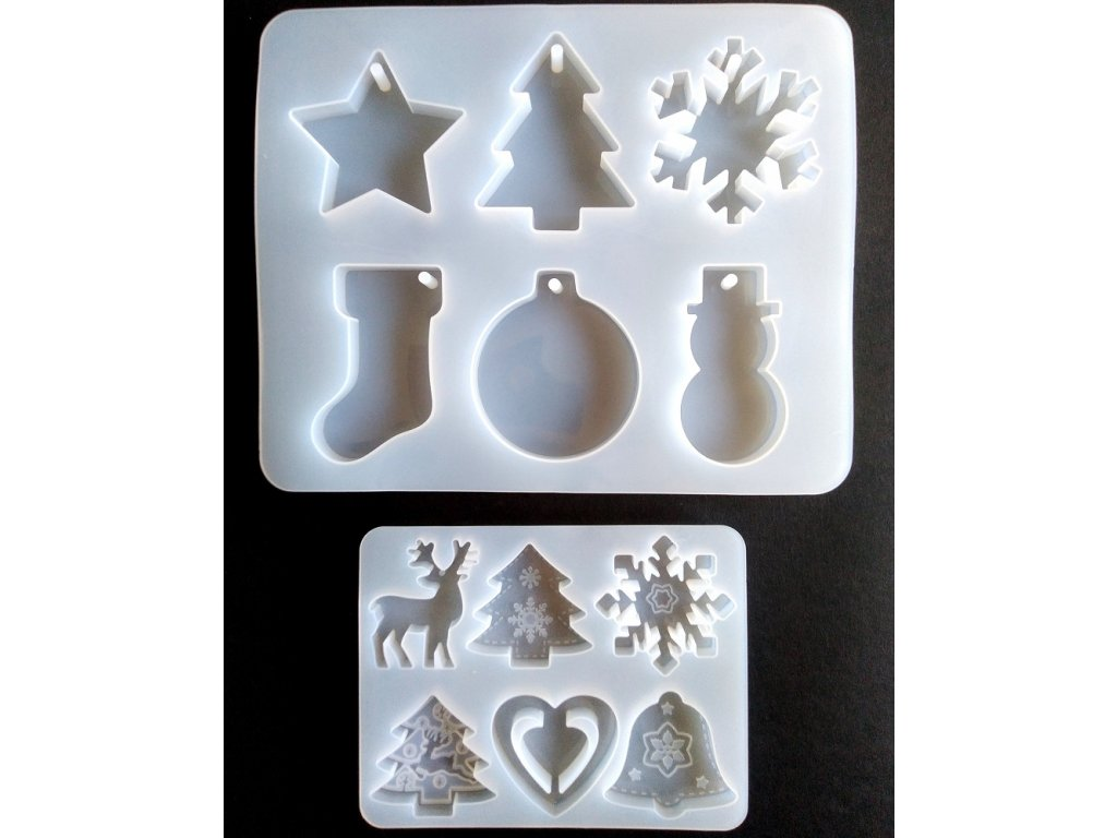 Silikonová forma na epoxidovou pryskyřici - vánoční ozdoby