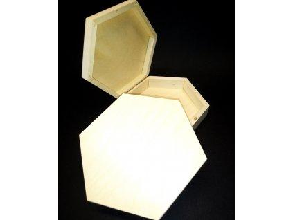 Dřevěná šestihranná krabička / šperkovnice k dekorování pryskyřici