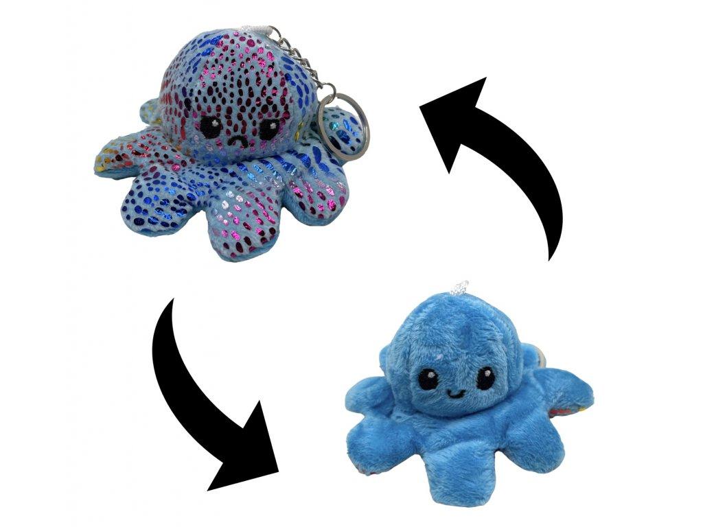 Oboustranná plyšová chobotnice s měnícím se výrazem třpytivá klíčenka