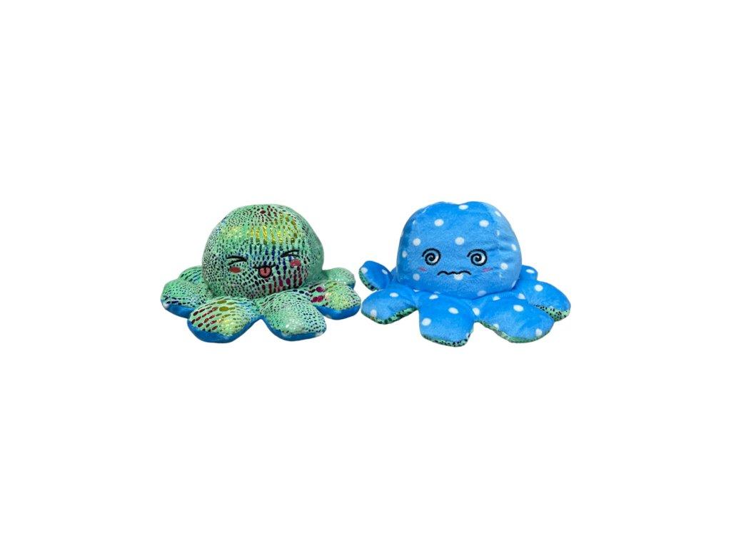 Oboustranná třpytivá plyšová chobotnice s měnícím se ksychtíkem a puntíky