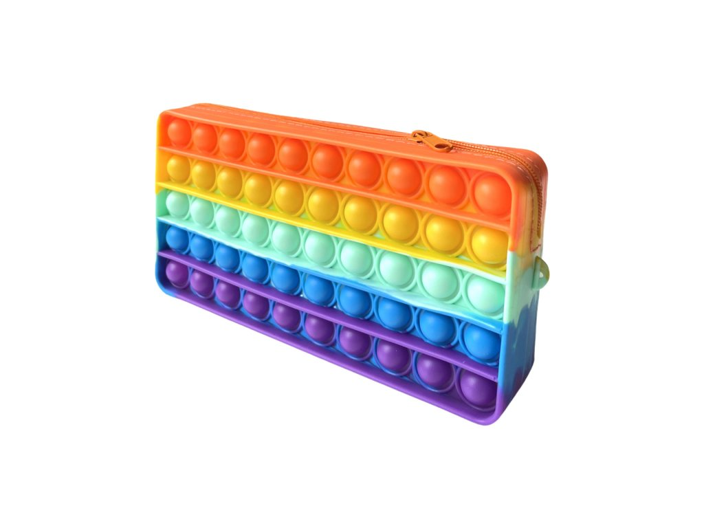 POP IT Antistresová hračka školní pouzdro duhové 19 cm