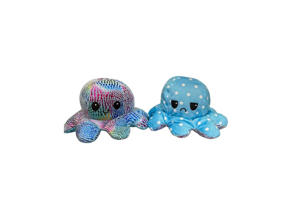 Oboustranná třpytivá plyšová chobotnice s měnícím se výrazem a puntíky