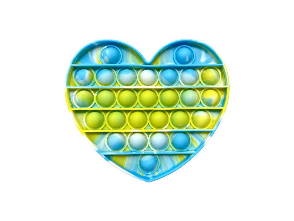 POP IT Antistresová hračka barevné srdce mramorové