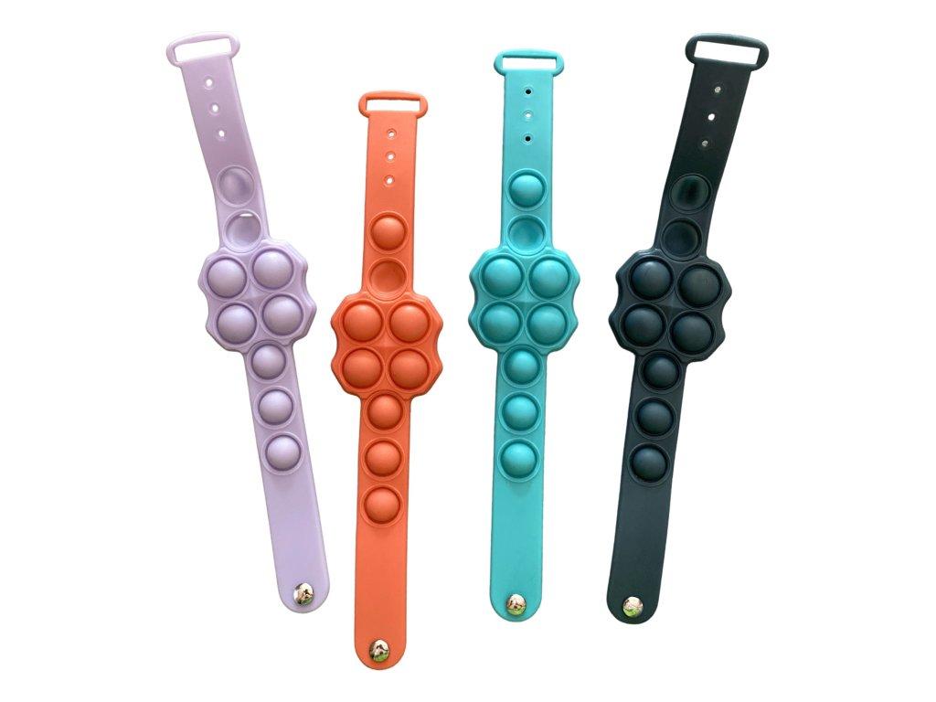 POP IT Antistresový náramek ve tvaru hodinek barevný