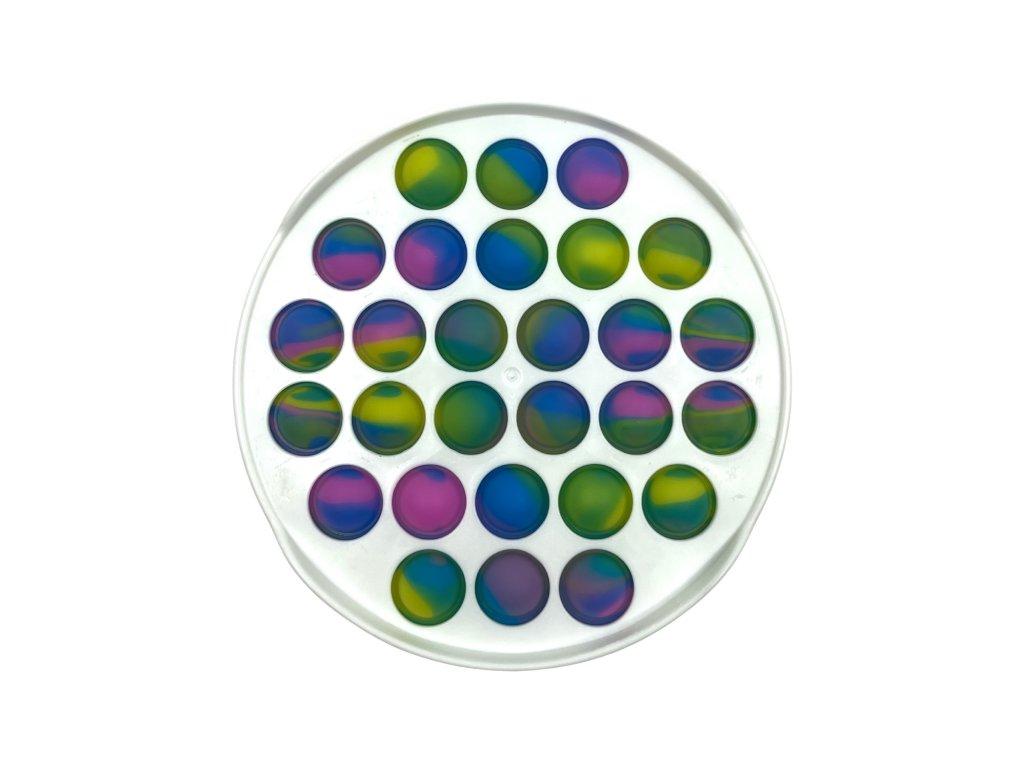 POP IT Antistresová hračka plastový kruh bílý barevný