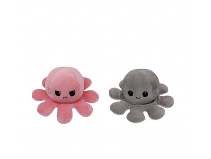 Oboustranná plyšová chobotnice s měnícím se výrazem svítící
