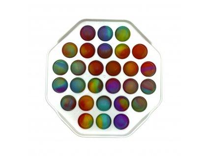 POP IT Antistresová hračka plastový osmihran bílý barevný