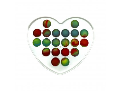 POP IT Antistresová hračka plastové srdce bílé barevné