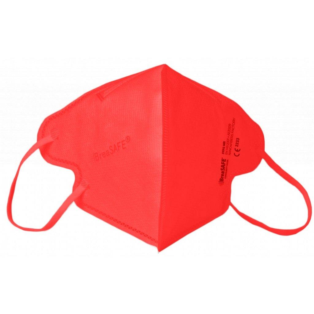 5x Nano respirátor BreaSAFE® COMMUNITY MASK FFP2 Znovupoužitelný - Balení 5ks - Červená