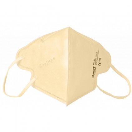 5x Nano respirátor BreaSAFE® COMMUNITY MASK FFP2 Znovupoužitelný - Balení 5ks - Béžová