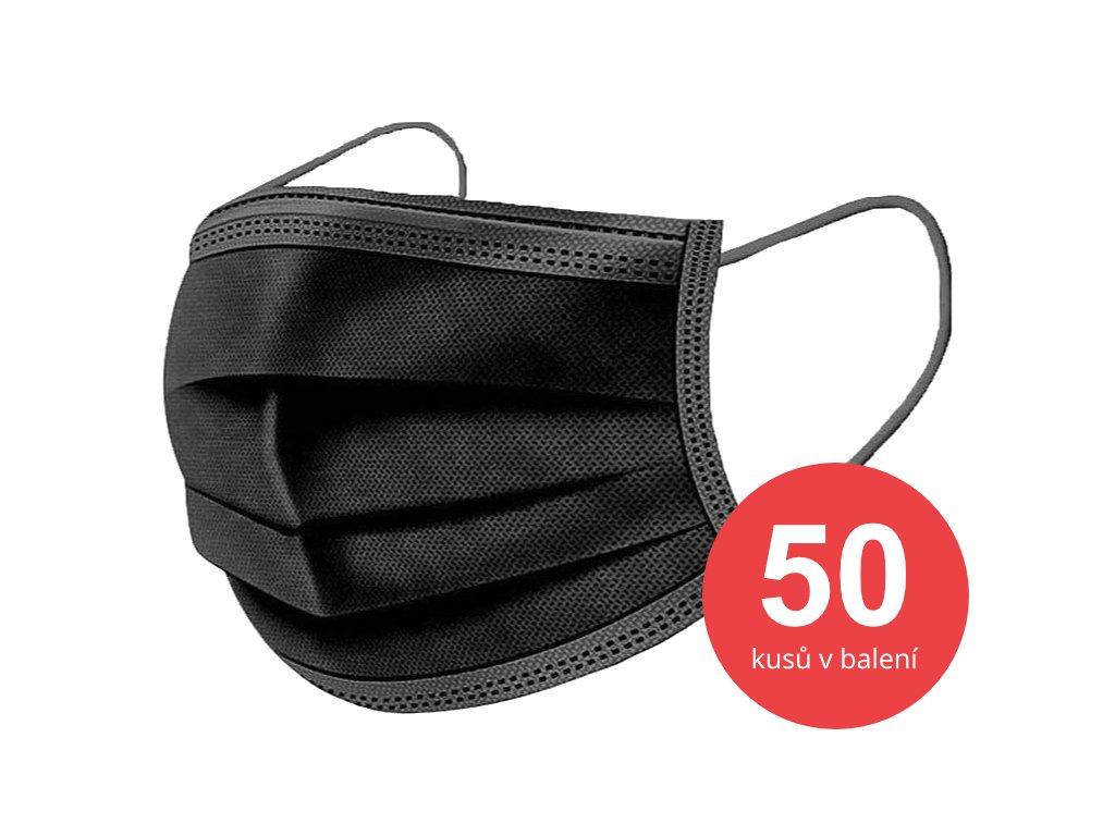 Jednorázová rouška černá v balení 50 kusů
