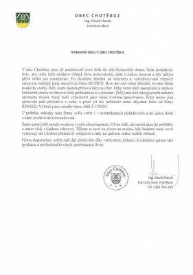 Reference od pana starosty Chotěbuze | Ressed