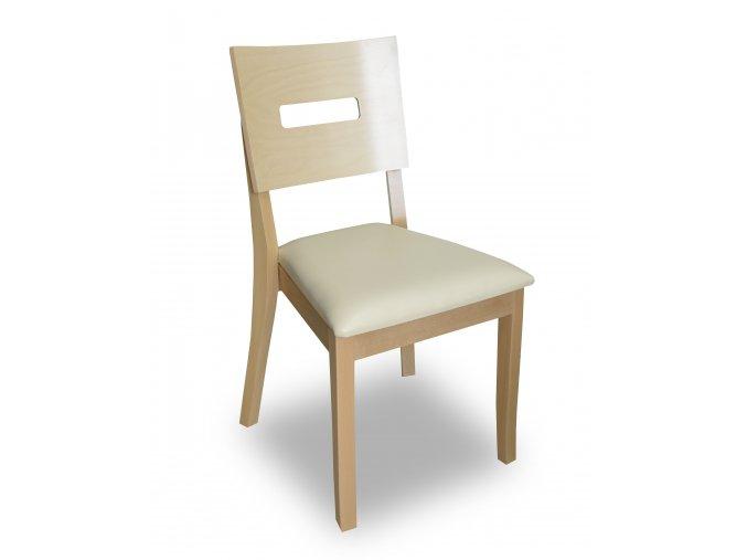 Designová židle Terra II, dřevěná, zeštíhlený sedák, bílá koženka