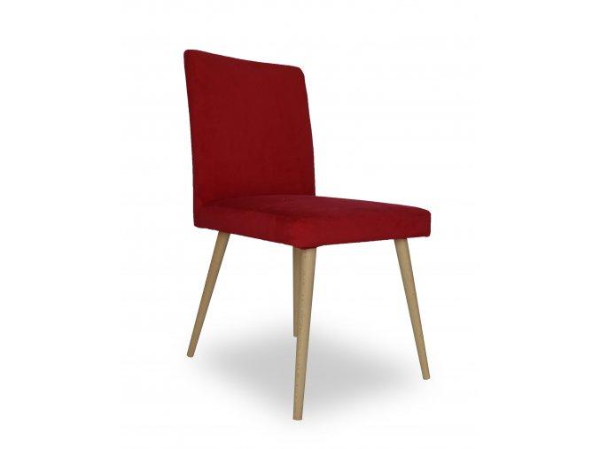 Designová židle Bergano, kulaté bukové nohy, červená látka