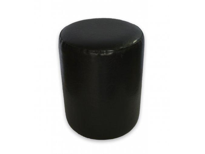 Moderní kulatý taburet, černá koženka