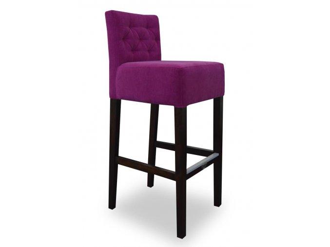 Pohodlná prošitá barová židle, fialová látka