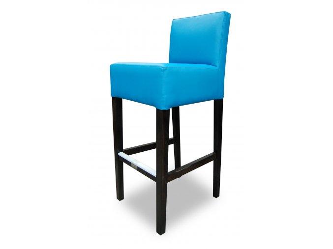 Pohodlná barová židle se zesíleným sedákem, modrá koženka