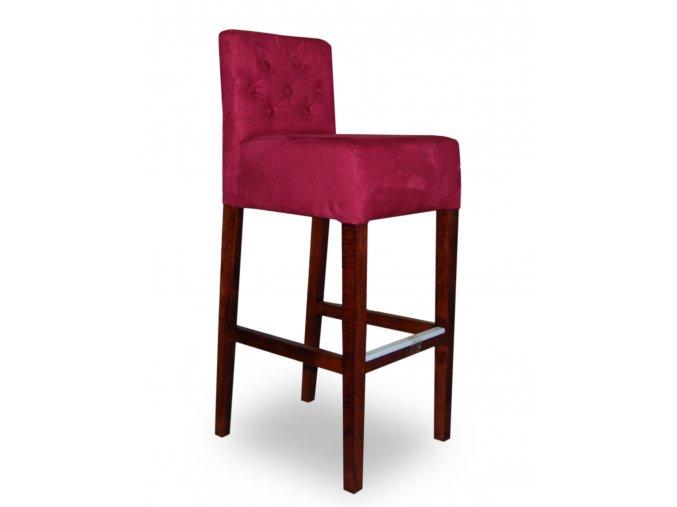 Pohodlná prošitá barová židle s knoflíky a zesíleným sedákem