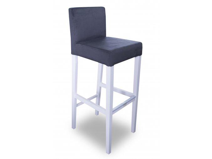 Dřevěná barová židle se zeštíhleným sedákem, vysoká, bílé nohy