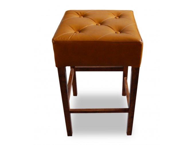 Pohodlná prošitá barová židle s knoflíky, bez opěradla