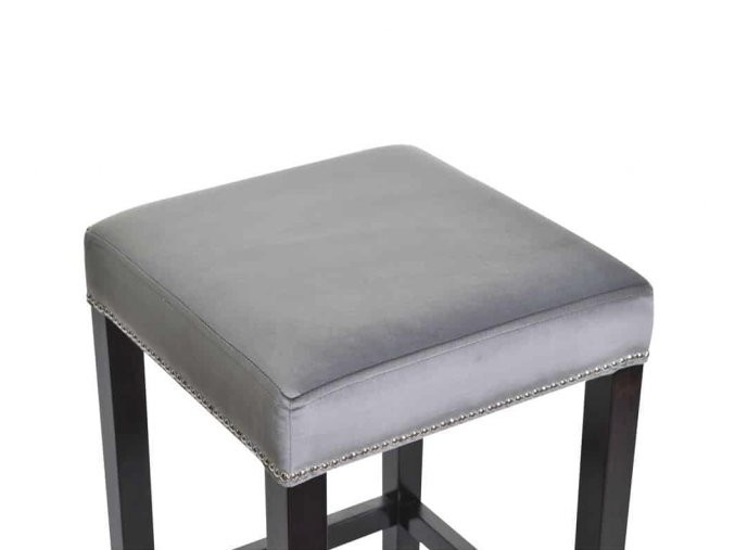 Dřevěná barová židle se zeštíhleným sedákem, hrášková eko kůže