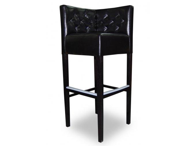 Rohová prošitá barová židle, černá