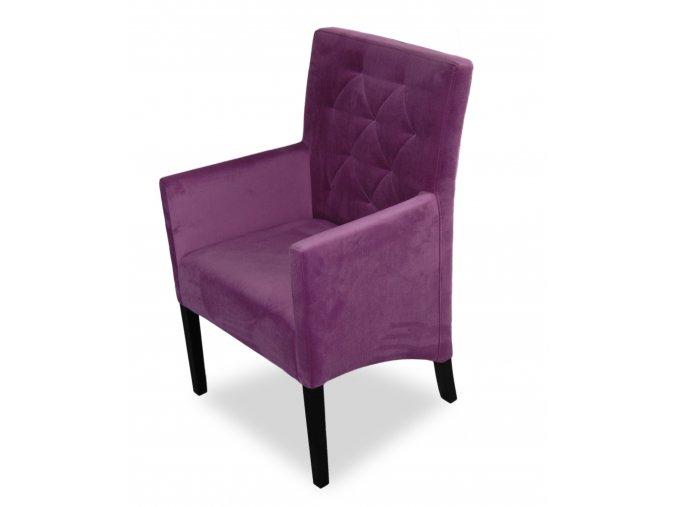 Moderní prošité křeslo se šikmým sedákem, fialové čalounění