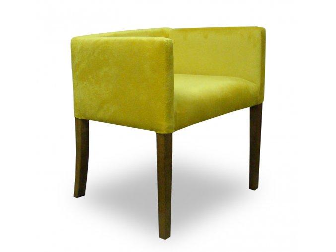 Designové křeslo se zeštíhleným sedákem, vhodné do hotelových pokojů, penzionů