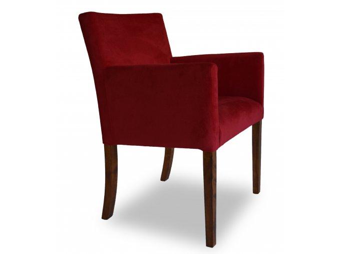 Designové křeslo se zeštíhleným sedákem, semišová látka, červená