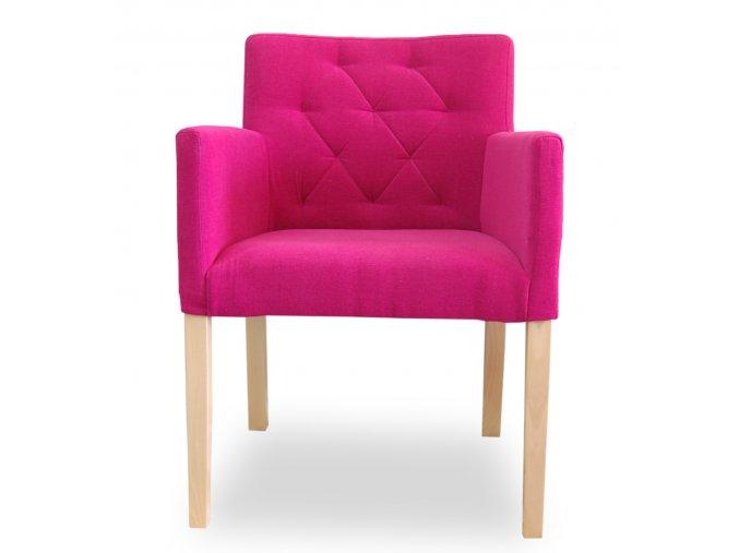 Designové prošité křeslo se zeštíhleným sedákem, růžová